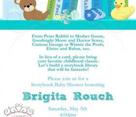 Baby Shower Invitation - Build a Library Blue - Printable DIY