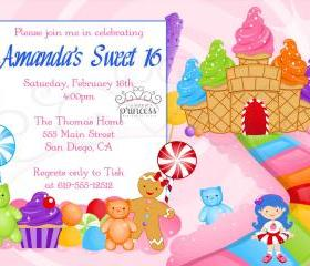 Birthday Invitation - Sweet 16 Candy Candyland - Printable DIY